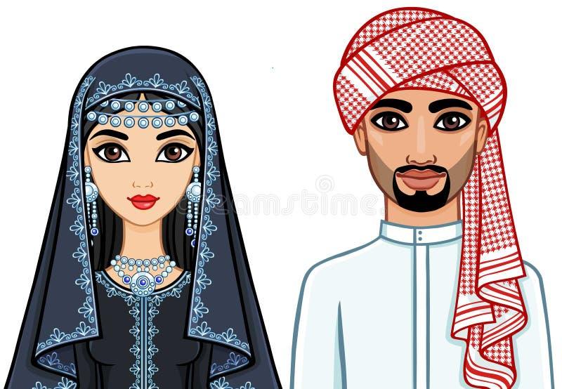 Портрет анимации арабской семьи в традиционных одеждах иллюстрация штока