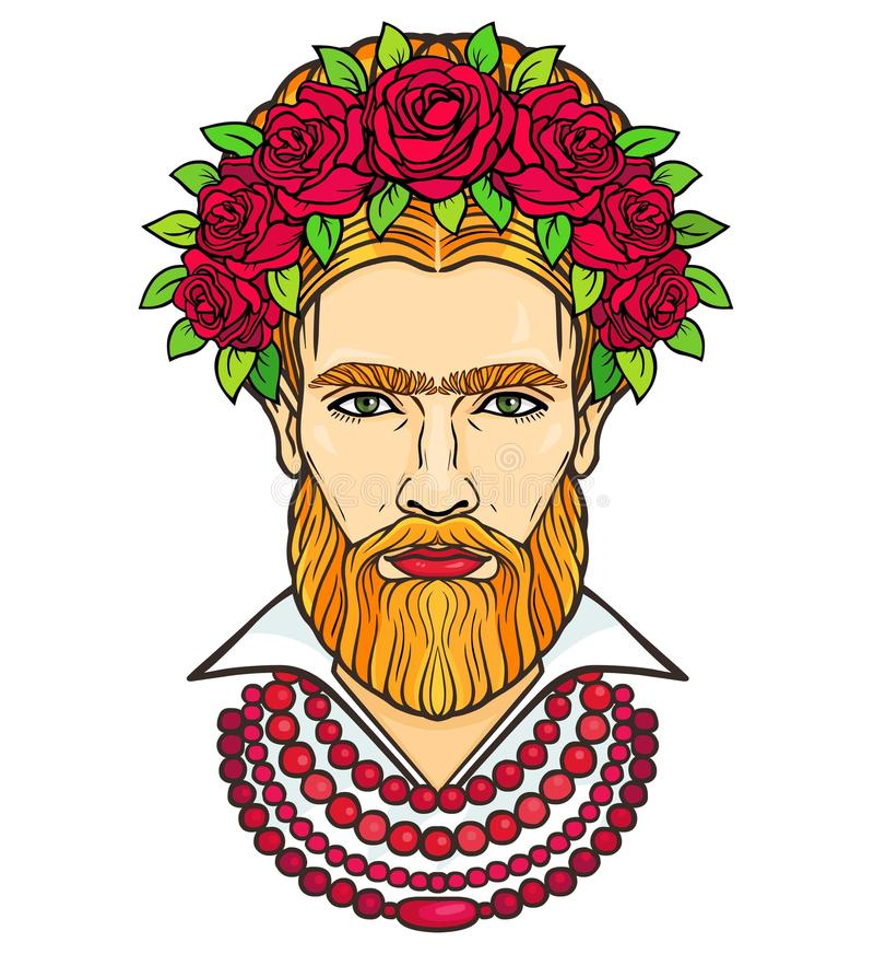 Портрет анимации бородатого человека в шариках и венка роз ` S людей смешивания и женственное бесплатная иллюстрация