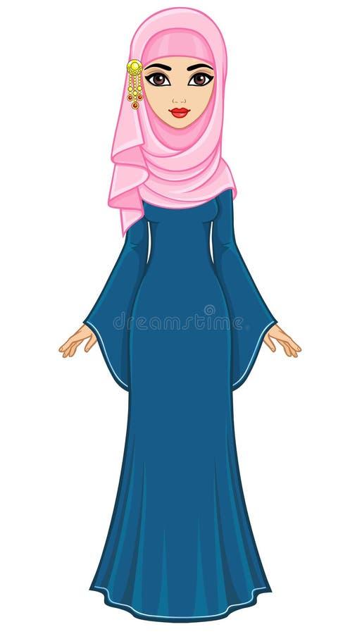 Портрет анимации восточной женщины в hijab бесплатная иллюстрация