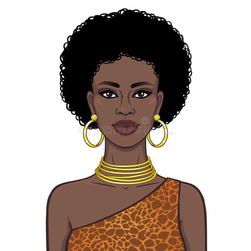 Портрет анимации красивого африканского womanin ювелирные изделия картины и золота платья животные r Иллюстрация вектора иллюстрация вектора