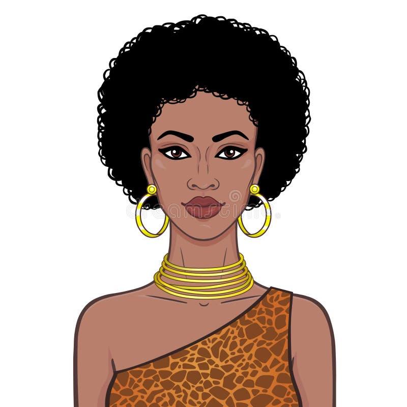 Портрет анимации красивого африканского womanin ювелирные изделия картины и золота платья животные r Иллюстрация вектора бесплатная иллюстрация