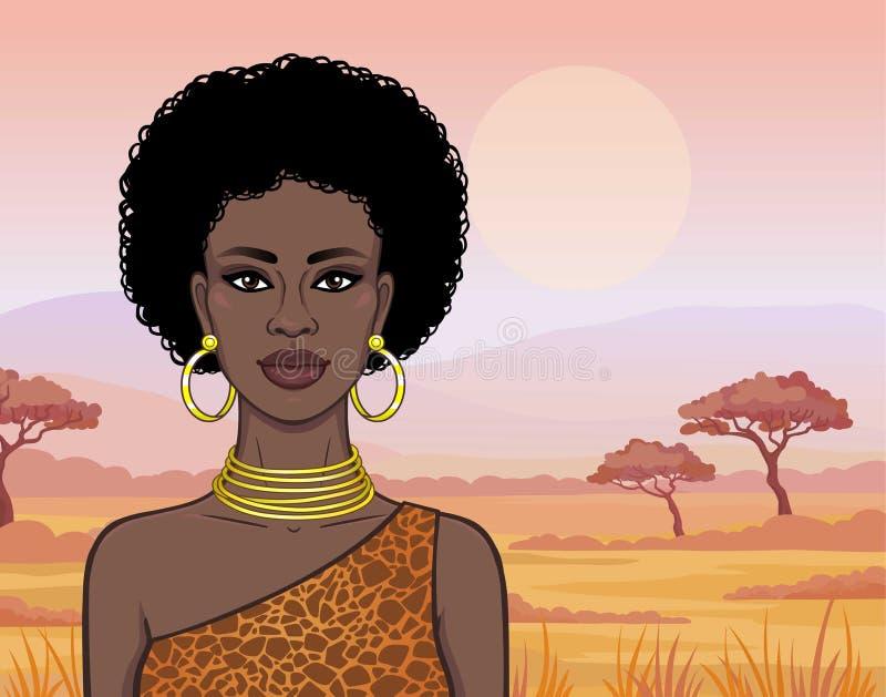 Портрет анимации красивого африканского womanin ювелирные изделия картины и золота платья животные r Иллюстрация вектора иллюстрация штока