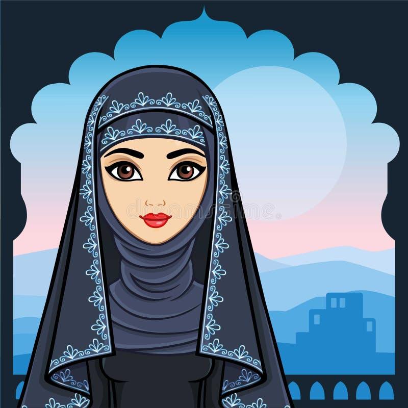 Портрет анимации красивой арабской женщины в старых одеждах иллюстрация вектора