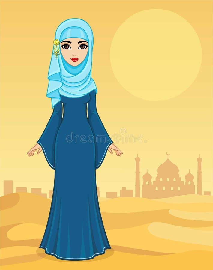Портрет анимации красивой арабской женщины в старых одеждах