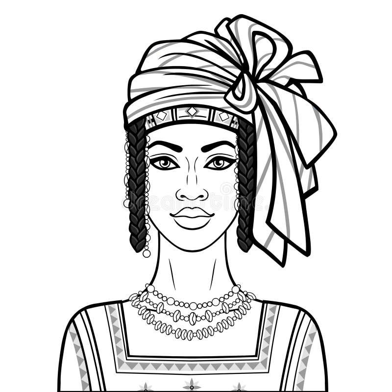 Портрет анимации красивой африканской женщины в тюрбане, старых одеждах и ювелирных изделиях бесплатная иллюстрация