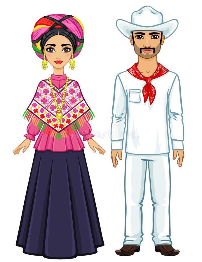 Портрет анимации мексиканской семьи в старых праздничных одеждах бесплатная иллюстрация
