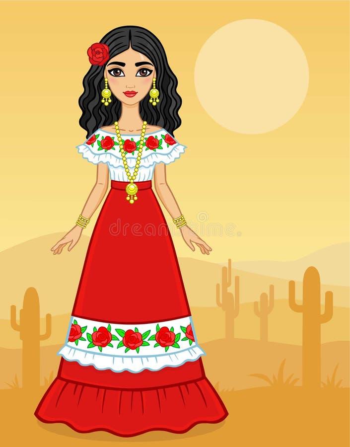Портрет анимации молодой мексиканской девушки в старых одеждах полный рост иллюстрация штока