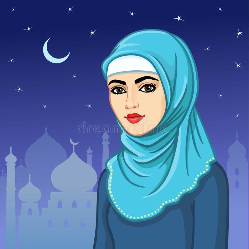 Портрет анимации мусульманской женщины в hijab иллюстрация вектора