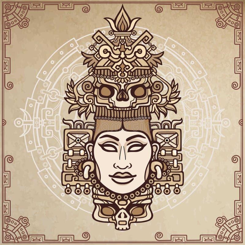 Портрет анимации языческой богини основанной на поводах индейца коренного американца искусства Чертеж цвета декоративный бесплатная иллюстрация