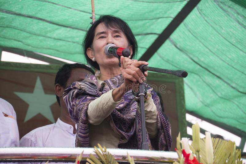 Портрет Аун Сан Су Чжи стоковые фото