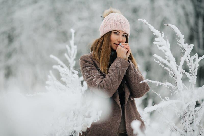 Портрет белокурой женщины в шляпе смотря камеру на прогулке в лесе зимы стоковые фотографии rf