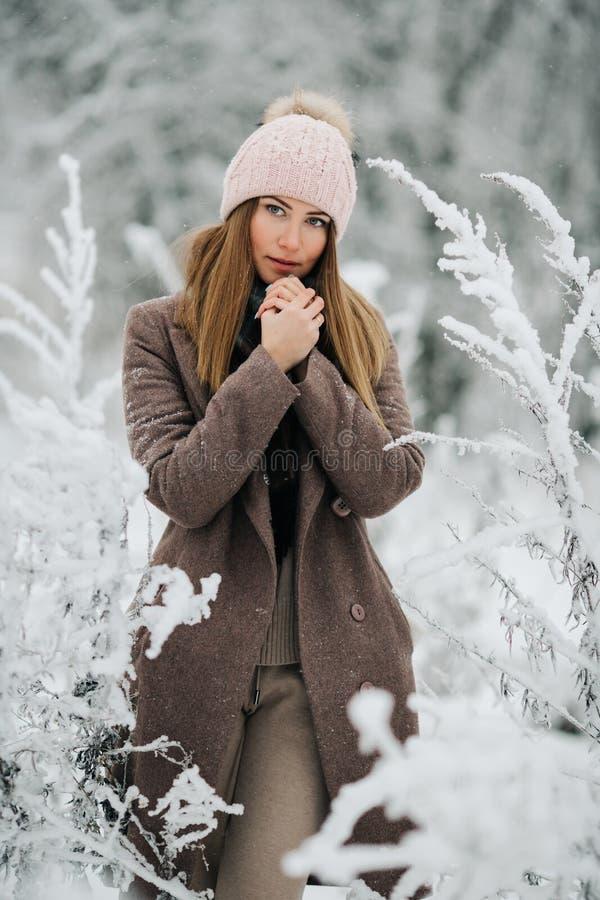 Портрет белокурой женщины в шляпе смотря камеру на прогулке в лесе зимы стоковые изображения rf