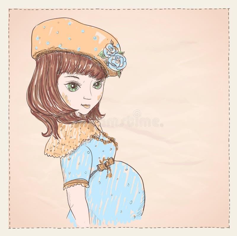 Портрет беременной молодой женщины в голубых платье и шляпе бесплатная иллюстрация