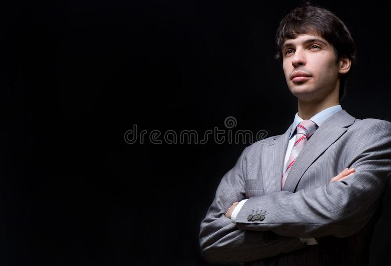Портрет бизнесмена в сером костюме Стоковые Фото