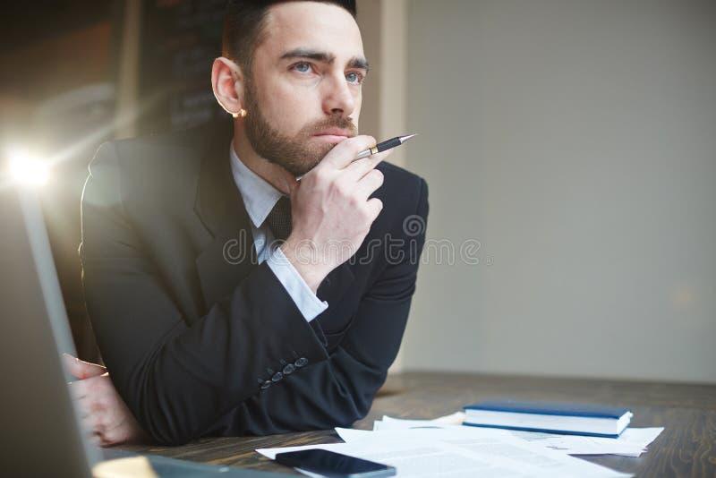Портрет бизнесмена разрешая проблемы стоковые изображения