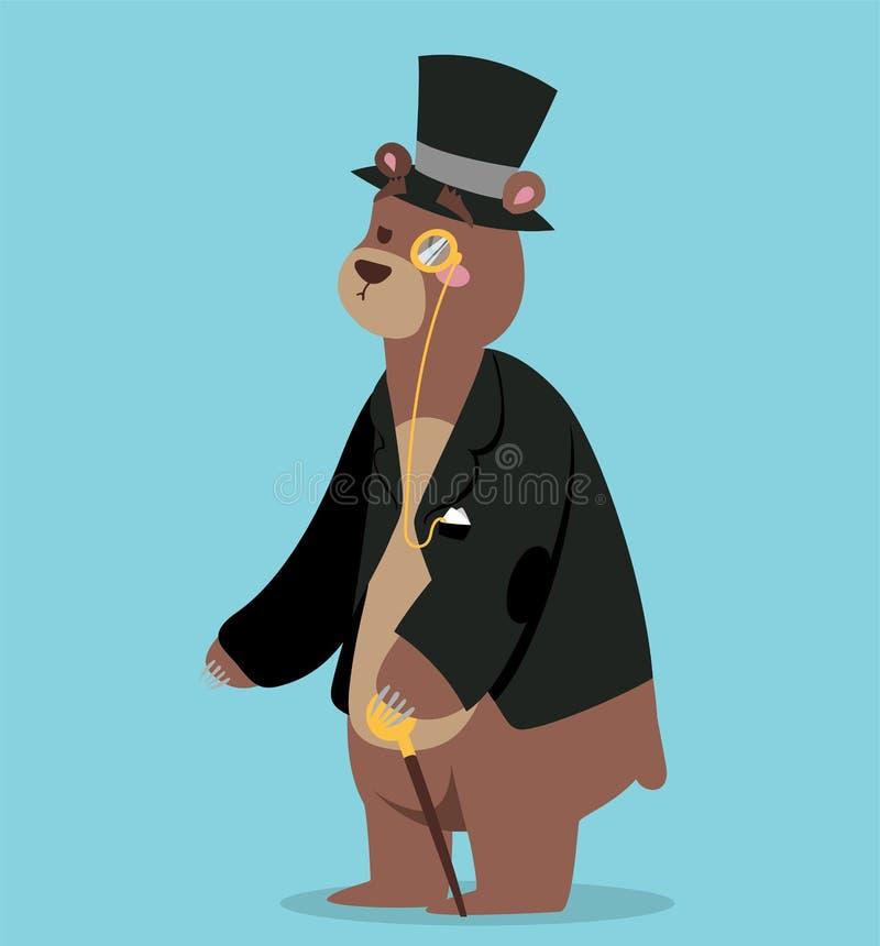 Портрет вектора бизнесмена медведя шаржа иллюстрация штока