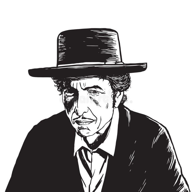 Портрет вектора Боба Дилана нарисованный рукой рисуя иллюстрация вектора