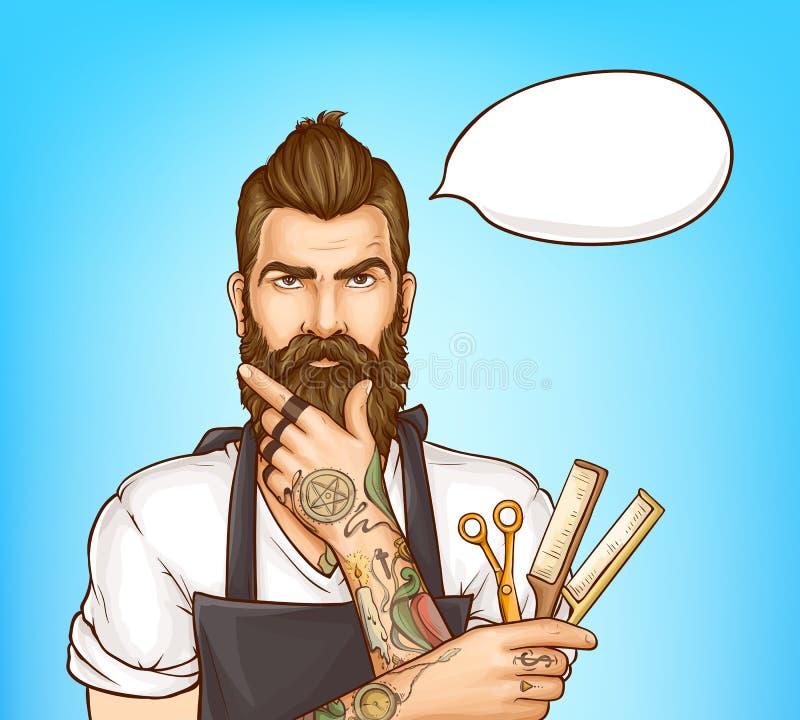 Портрет вектора искусства попа парикмахера парикмахерскаи бесплатная иллюстрация