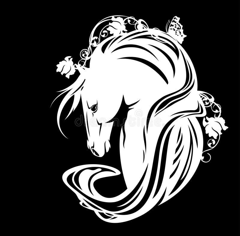 Портрет вектора лошади жеребца стиля nouveau искусства белый иллюстрация штока