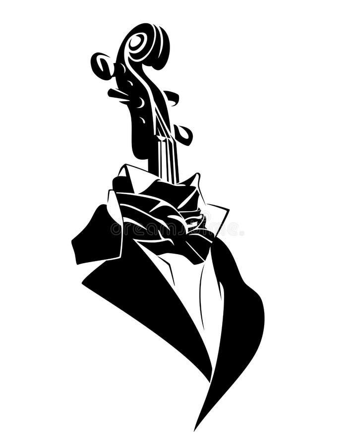 Портрет вектора совершителя музыки Виола черно-белый иллюстрация штока