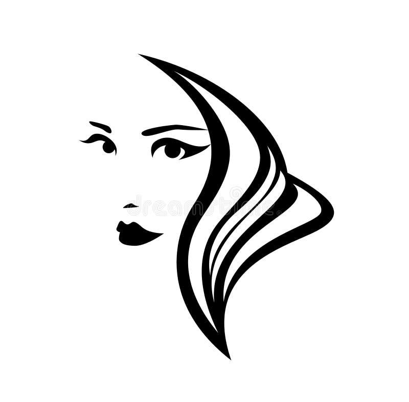 Портрет вектора черноты женщины салона красоты иллюстрация штока