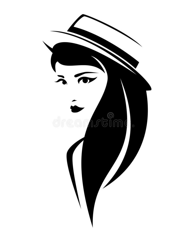Портрет вектора черноты шляпы лодочника женщины нося иллюстрация вектора