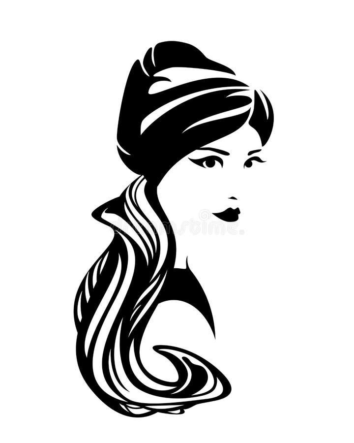 Портрет вектора шарфа тюрбана красивой женщины нося иллюстрация штока