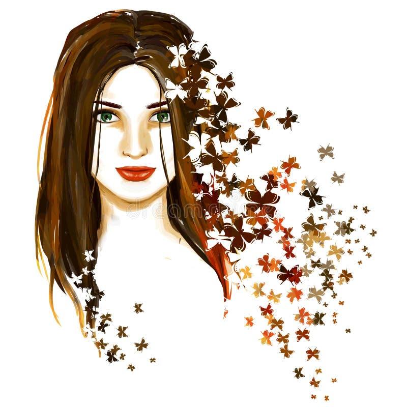 Портрет весны молодой красивой женщины с бабочками иллюстрация вектора