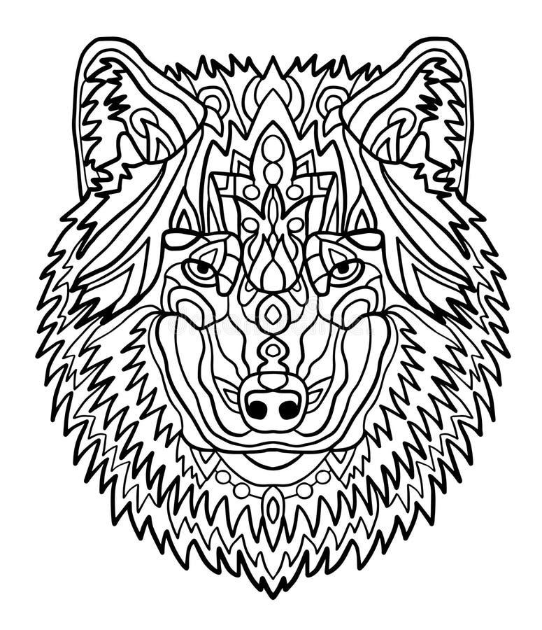 Портрет волка Картины нарисованные рукой для красить Freehand чертеж эскиза для взрослой antistress книжка-раскраски внутри бесплатная иллюстрация