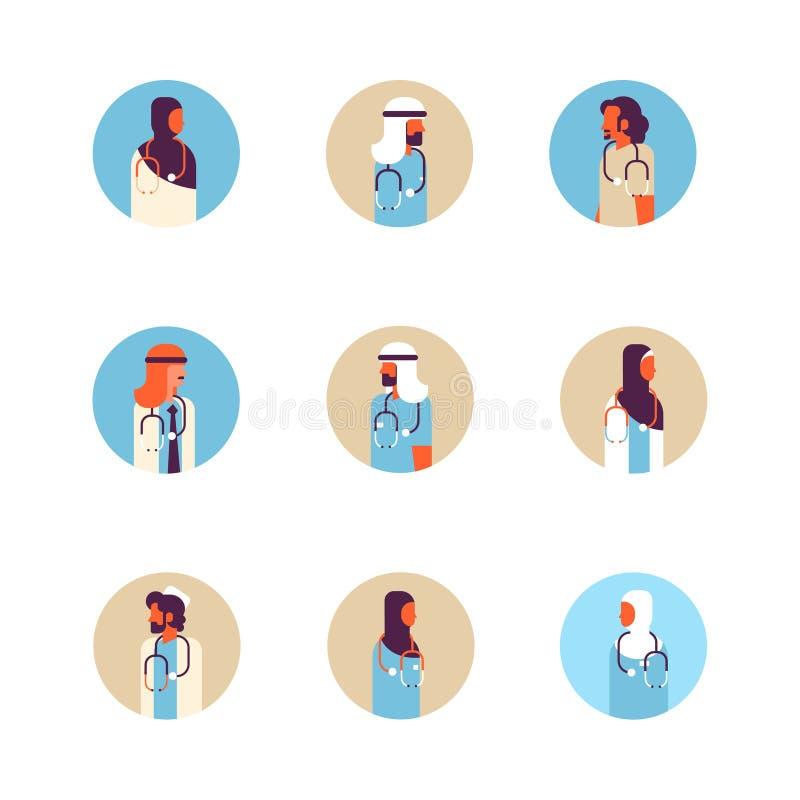 Портрет воплощения установленного арабского значка профиля концепции здравоохранения стетоскопа врача женщины человека арабский м иллюстрация штока