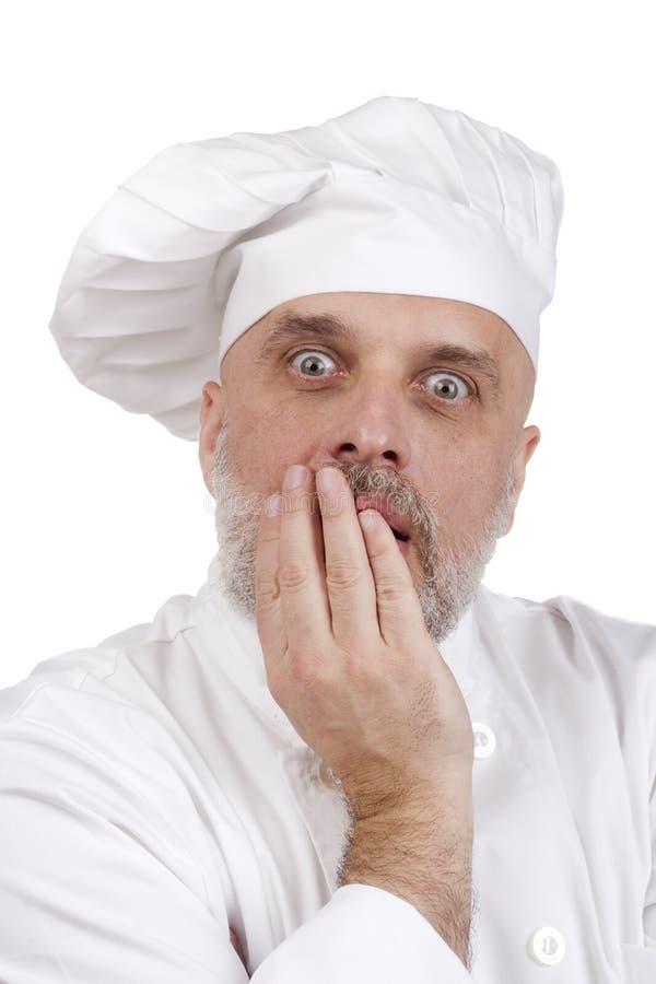 Портрет вспугнутого шеф-повара стоковое изображение