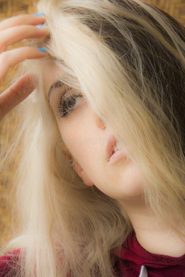 Портрет голов и плечи молодой женщины в свете окна стоковые изображения rf