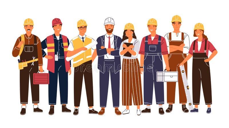 Портрет группы милой счастливой индустрии или рабочий-строители, инженеры стоя совместно Команда усмехаясь мужчины и бесплатная иллюстрация