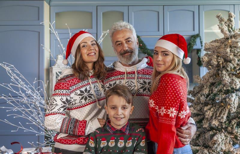 Портрет группы семьи на Рождество стоковое фото rf