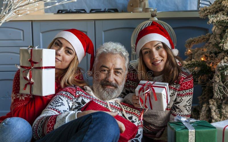 Портрет группы семьи на Рождество стоковые изображения
