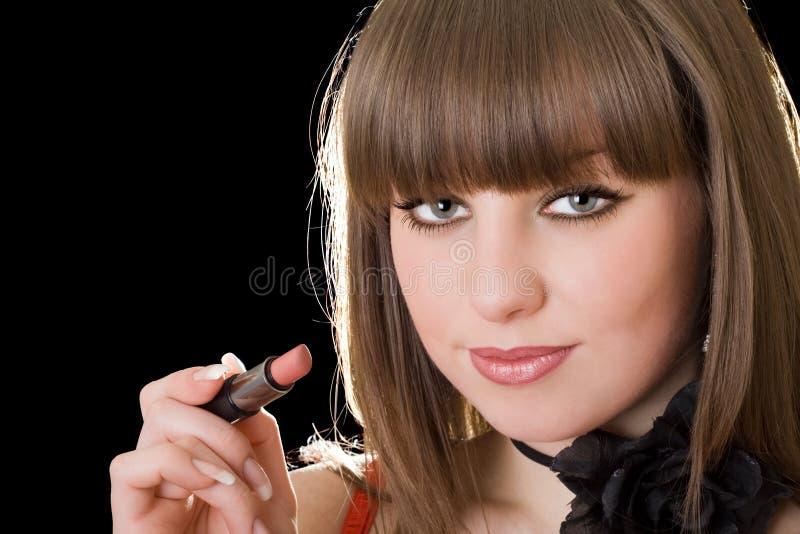 портрет губной помады девушки стоковое изображение