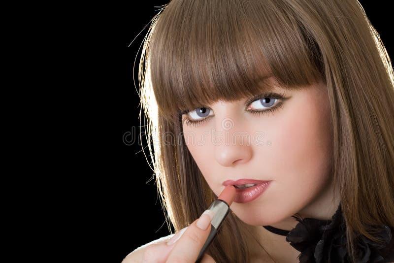 портрет губной помады девушки стоковое изображение rf