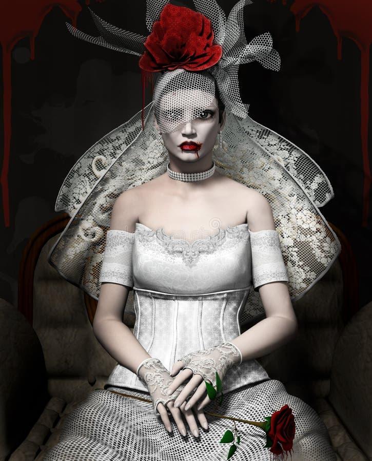Портрет дамы старого стиля воодушевленный Одри Hepburn иллюстрация штока