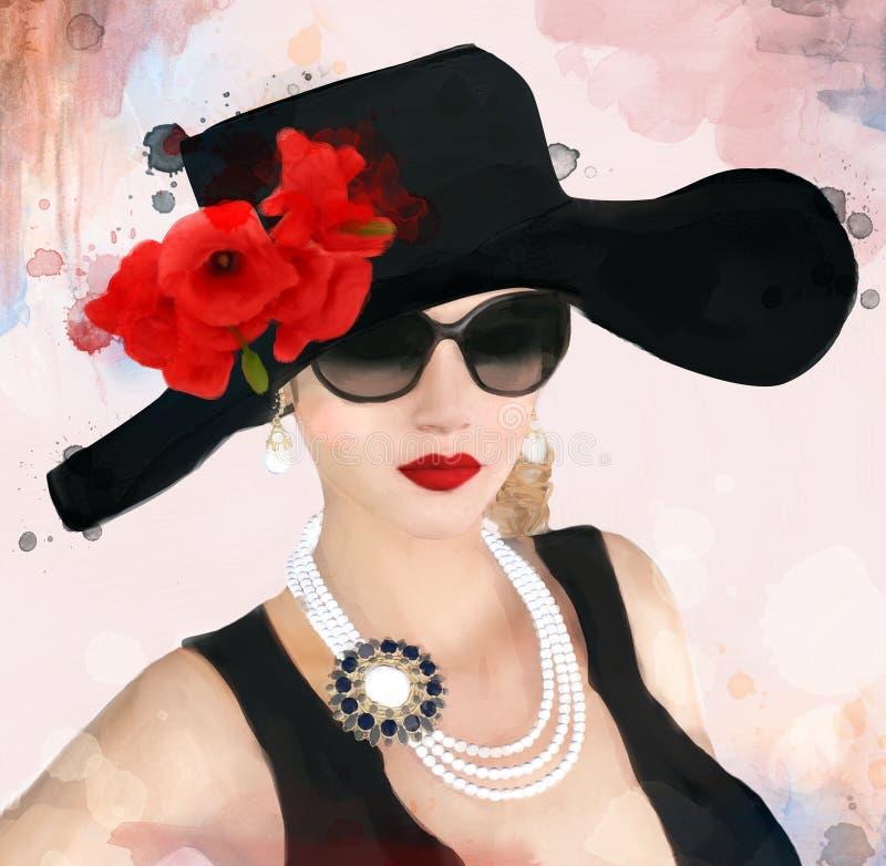 Портрет дамы старого стиля воодушевленный Одри Hepburn иллюстрация вектора