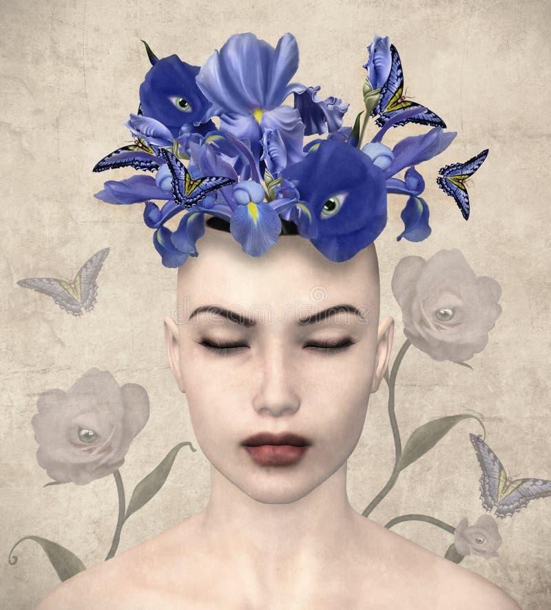 Портрет дамы фантазии с пурпурными цветками иллюстрация вектора