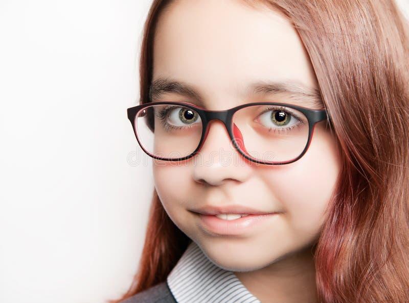 Портрет девочка-подростка с концом-вверх стекел стоковое фото rf