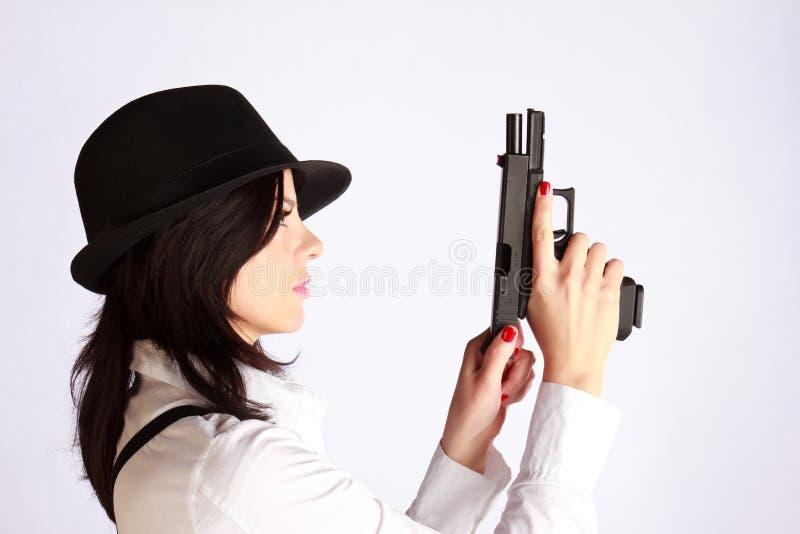 портрет девушки гангстера стоковая фотография rf