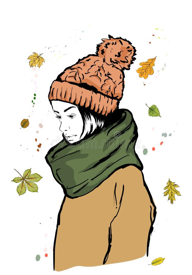 Портрет девушки моды молодой красивой стильной в шляпе осени стоковое фото