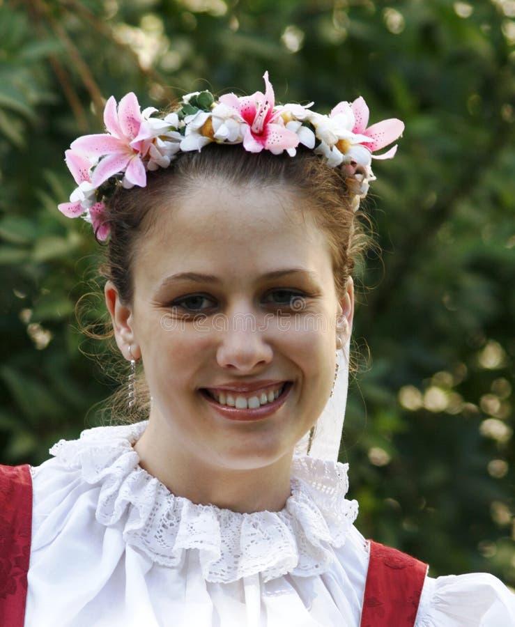 портрет девушки costum фольклорный стоковое изображение rf