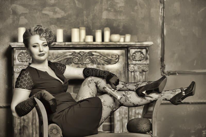 Портрет девушки гангстера. стоковые фотографии rf