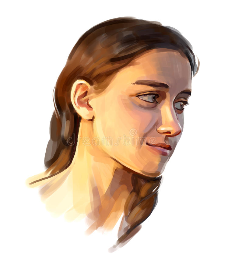 Портрет девушки рукописной иллюстрация вектора