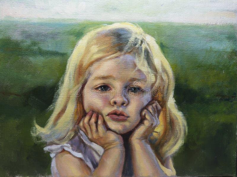 Портрет девушки с ее руками на ее щеках стоковое изображение rf