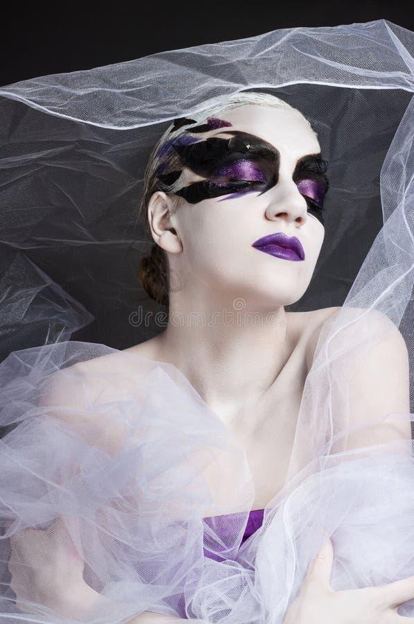 Портрет девушки с творческим составом стоковое фото rf