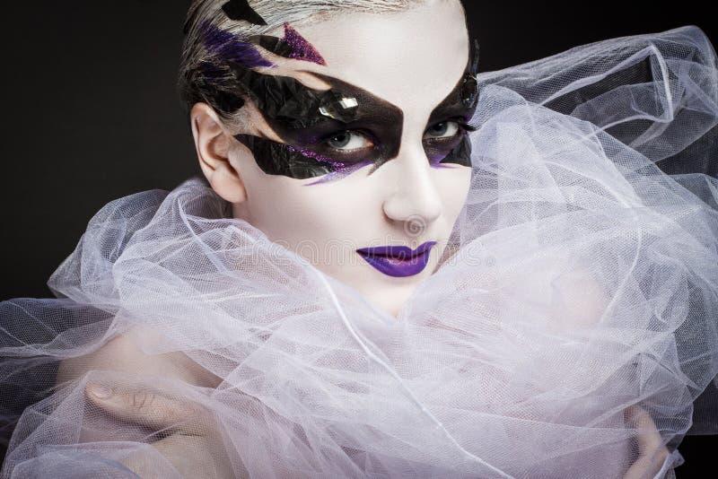 Портрет девушки с творческим составом стоковая фотография rf