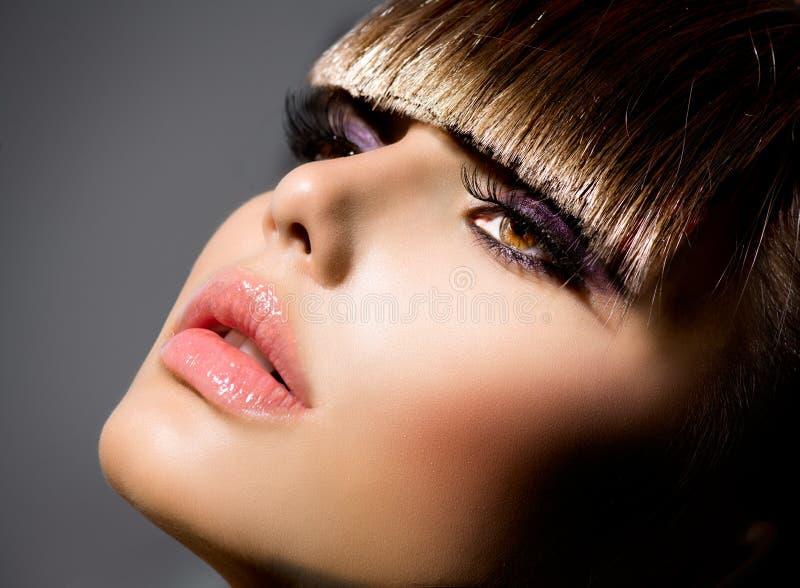 Портрет девушки фотомодели стоковое изображение rf